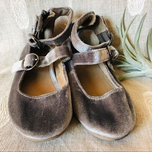 Old Navy • Double Strap Gray Velvet Ballet Shoes